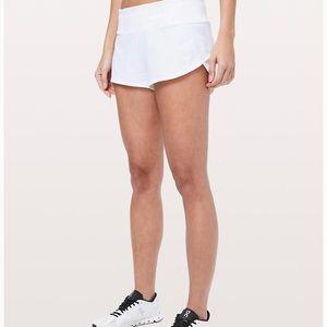"""LuluLemon White Speed Up Short  2.5"""" Size 2"""